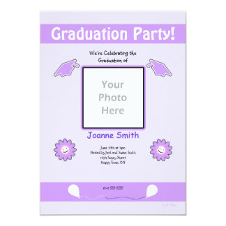 Purple Graduation Photo Smiley Flowers and Caps Card