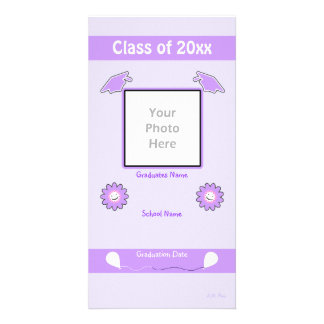 Purple Graduation Smiley Flowers and Caps Card