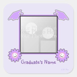 Purple Graduation Smiley Flowers (photo frame) Square Sticker