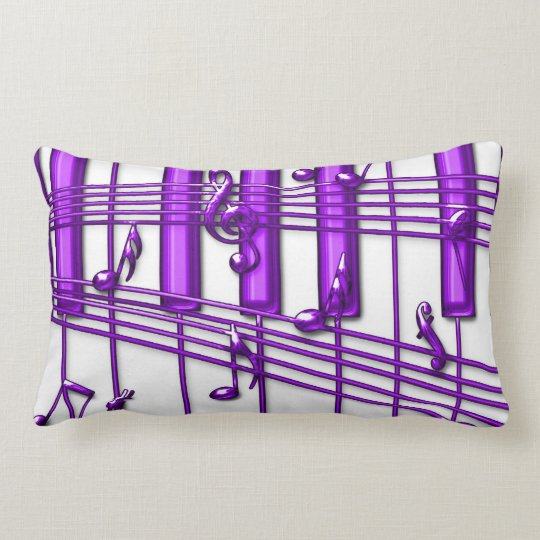 Purple Grand Piano Keyboard with Music Notes Lumbar Pillow