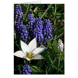 """PURPLE GRAPE HYACINTHS AND LARGE WHITE FLOWER"" CARD"