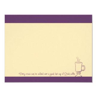"Purple Grape Irish Coffee Cup Note Cards 4.25"" X 5.5"" Invitation Card"