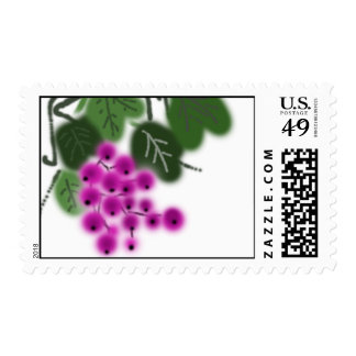 purple grapes and green leaves postage
