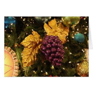 purple grapes christmas ornament greeting card