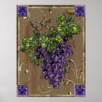 Purple Grapes Scroll No Boarder Poster