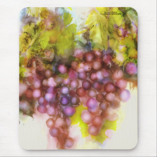 purple grapes, watercolor painting mouse pad