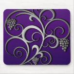 Purple Grapevine & Grapes Retro Fine Art Mouse Pad