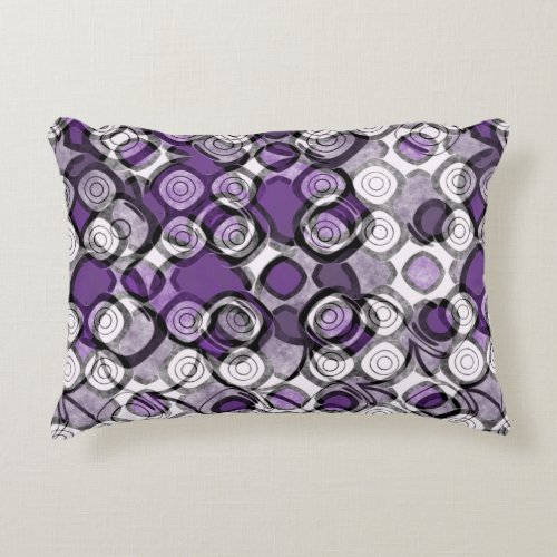 Purple Gray and White Abstract Black Circles Accent Pillow