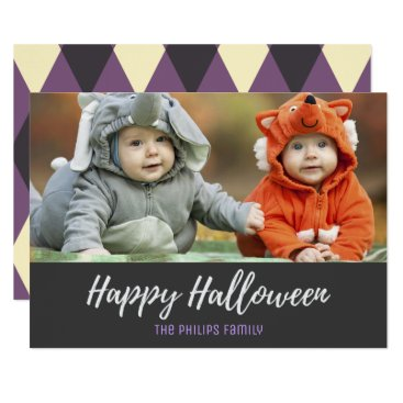 Halloween Themed Purple Gray Argyle Happy Halloween Photo Card