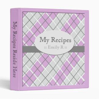 Purple & Gray Argyle Recipe Binder