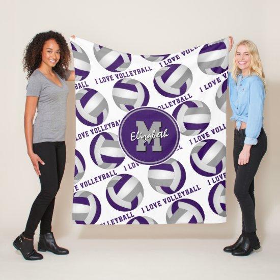purple gray athletic room decor I love volleyball Fleece Blanket