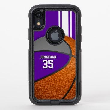 purple gray basketball team colors varsity boys OtterBox commuter iPhone XR case
