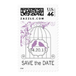 Purple Gray Birdcage Save The Date Postage Stamps