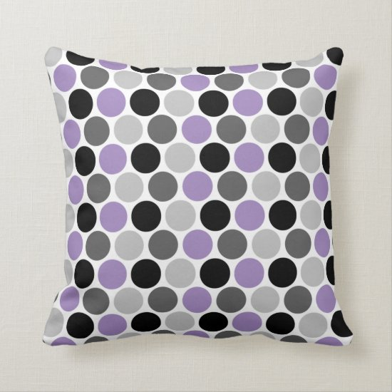 Purple Gray Black Retro Circles Pattern Throw Pillow