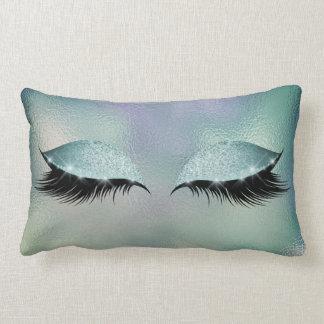 Purple Gray Blue Lashes Glass Sleep Glitter Makeup Lumbar Pillow