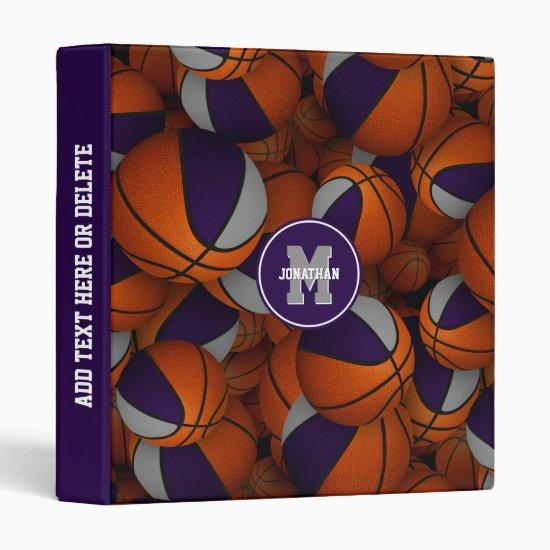 purple gray boys girls team colors basketball 3 ring binder