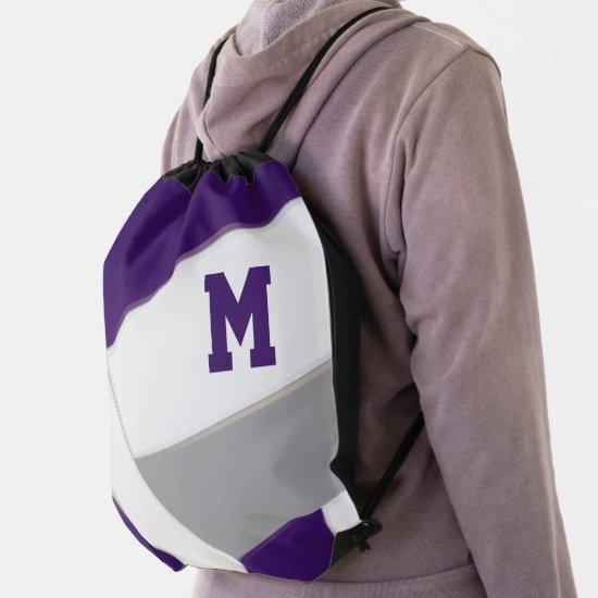 purple gray boys girls volleyball team colors drawstring bag