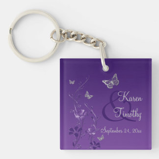 Purple Gray Butterfly Floral Acrylic Keychain