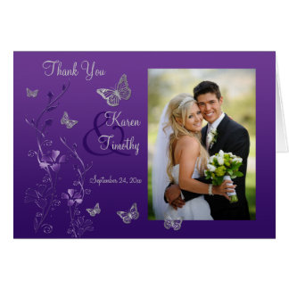 Purple Gray Butterfly Floral Photo Thank You Card