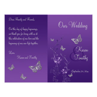 Purple Gray Butterfly Floral Wedding Program