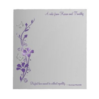 Purple, Gray Butterfly Foral with Scottish Proverb