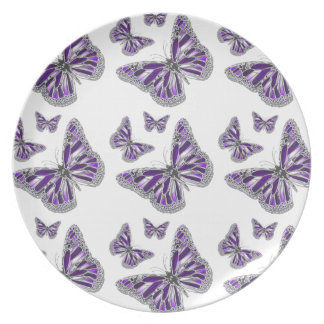 Purple gray butterfly girly dinner plate