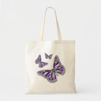 Purple gray butterfly girly tote bag