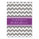 Purple Gray Chevron Bridal Shower Invitation Cards