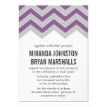 Purple & Gray Chevron Design Wedding Invitations