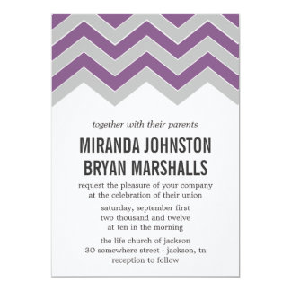 """Purple & Gray Chevron Design Wedding Invitations 5"""" X 7"""" Invitation Card"""