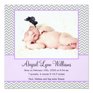Purple Gray Chevron Girl Photo Birth Announcement