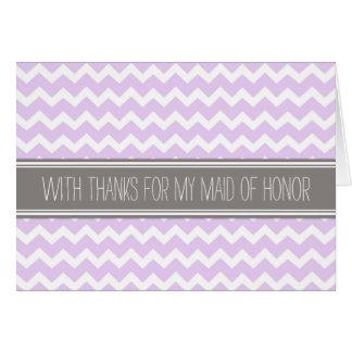 Purple Gray Chevron Thank You Maid of Honor Card