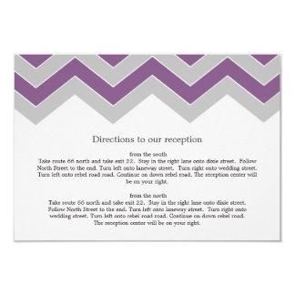 "Purple & Gray Chevron Wedding Direction Cards 3.5"" X 5"" Invitation Card"