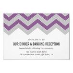 Purple & Gray Chevron Wedding Reception Cards Personalized Invites