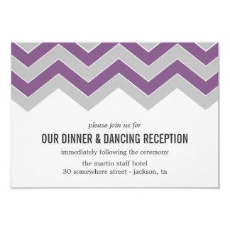 "Purple & Gray Chevron Wedding Reception Cards 3.5"" X 5"" Invitation Card"
