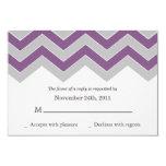 Purple & Gray Chevron Wedding RSVP Cards Invites