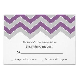 "Purple & Gray Chevron Wedding RSVP Cards Invites 3.5"" X 5"" Invitation Card"