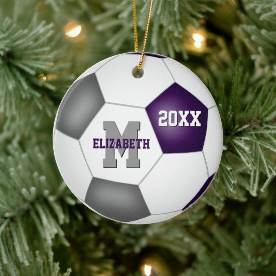 purple gray club colors girls boys keepsake soccer ceramic ornament