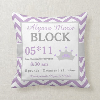 Purple Gray Crown Baby Announcement Pillow