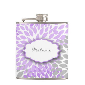 Purple Gray Dahlia custom liquor flask with name