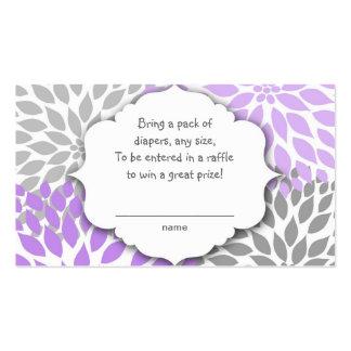 Purple Gray Dahlia raffle ticket or insert card Business Card Templates