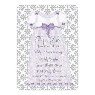 Purple Gray Damask Baby Girl Shower 5x7 Paper Invitation Card