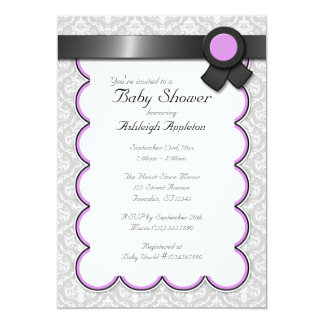 Purple & Gray Damask Baby Shower Invitations