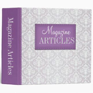 "Purple & Gray Damask Magazine Articles 2"" Binder"