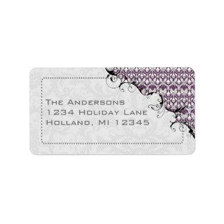 Purple & Gray Damask Swirled Return Address Label