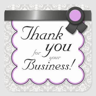 """Purple & Gray Damask """"Thank you for your Business"""" Square Sticker"""