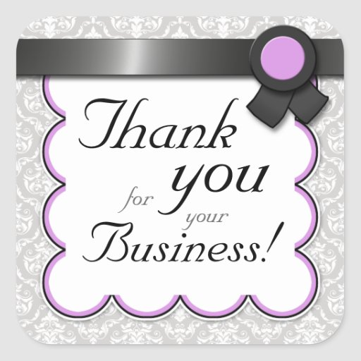 """Purple & Gray Damask """"Thank you for your Business"""" Sticker"""