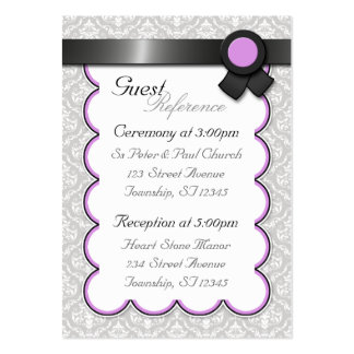 Purple & Gray Damask Wedding Guest Reference Cards