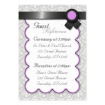Purple & Gray Damask Wedding Guest Reference Cards Business Card Templates