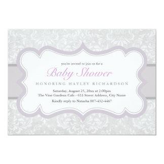 Purple & Gray Elegant Damask Baby Shower Invite